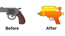 Google、スマホの銃の絵文字をポップに変える。「リアルな銃」⇒「オレンジの水鉄砲」