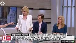Bronca de Esperanza Aguirre en Telemadrid: se levanta y se va en