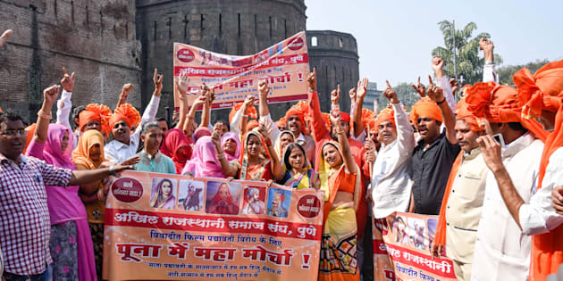 Members of Akhil Rajasthani Samaj Sangh, protest for banning a movie Padmavati at Shanivar Wada, on November 25, 2017 in Pune, India.