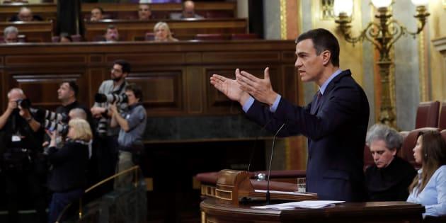 El presidente del Gobierno, Pedro Sánchez, durante su comparecencia en el Congreso.