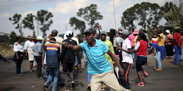 A protest over illegal land invasion in Lenasia, southwest of Johannesburg. April 25, 2017.