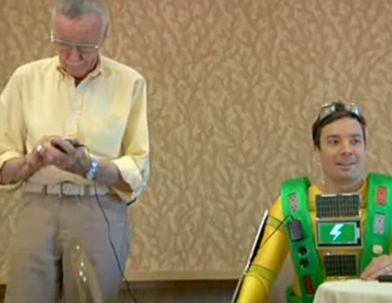 Stan Lee pretends to like Fallon's superhero costume
