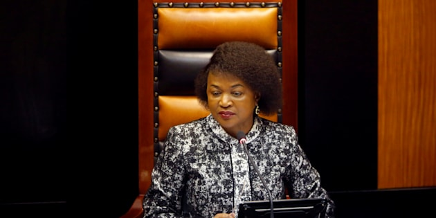 Parliamentary Speaker Baleka Mbete listens during a debate in Cape Town, South Africa April 5, 2016. Picture taken April 5, 2016.