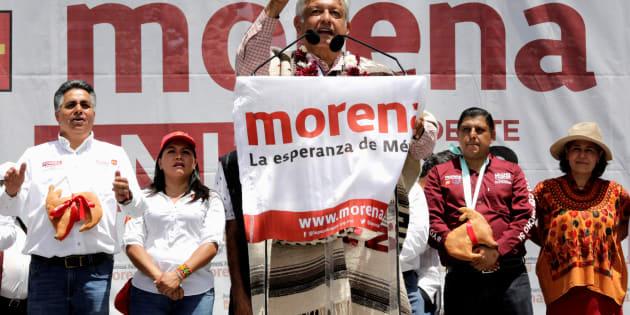 Andrés Manuel López Obrador (MORENA) en Uruapan, en Michoacán. Junio 8, 2018.