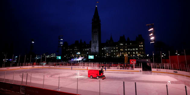 A Zamboni driver cleans the ice on the Canada 150 rink on the front lawn of Parliament Hill Dec. 7, 2017.