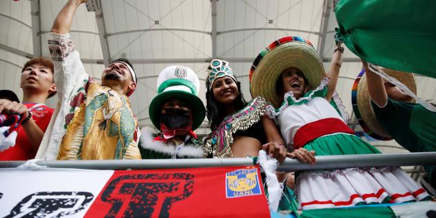 Los aficionados mexicanos en el Rostov Arena previo al juego contra Corea del Sur. REUTERS/Damir Sagolj