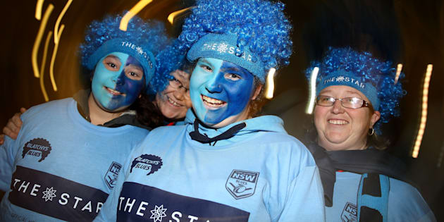 """""""Kids love gimmicky stuff, and will wear anything that makes them feel part of the 'tribe'. At Game Two a few weeks back in Sydney, The Star casino handed out free bright blue supporter wigs with their name emblazoned across the front of them."""""""