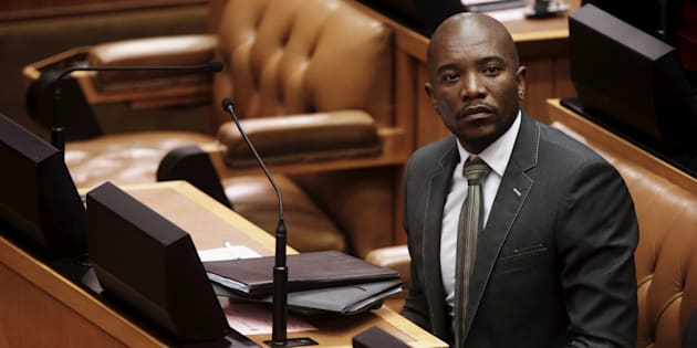 South Africa's opposition Democratic Alliance (DA) leader Mmusi Maimane listens in Parliament in Cape Town during a motion to impeach President Jacob Zuma after the constitutional court ruled that he breached the constitution, April 5, 2016.