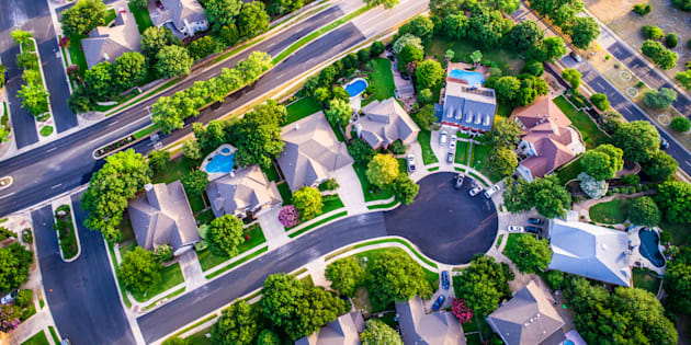 An aerial view of homes in a suburban development. A new survey for realtor Sotheby's finds the vast majority of young urban families prefer detached homes to higher-density forms of housing.