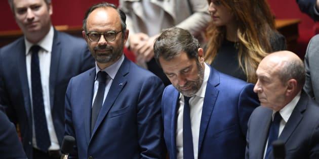 Jean-Baptiste Lemoyne, Edouard Philippe, Christophe Castaner et Gérard Collomb à l'Assemblée nationale.