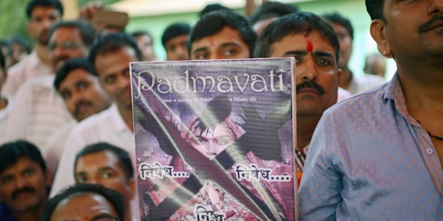 Members of the Rajput community take part in a protest against forthcoming Bollywood film 'Padmavati' in Mumbai on November 20, 2017.