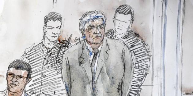 Un croquis de la salle d'audience réalisé le 17 septembre 2018 aux assises des Bouches-du-Rhône à Aix-en-Provence, montrant Wojciech Janowski lors de son procès.