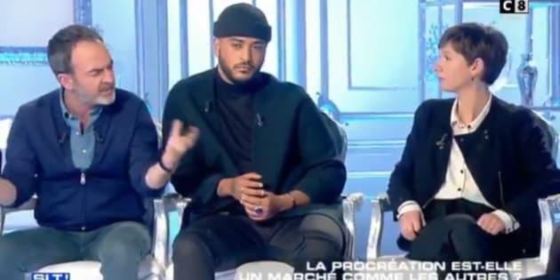 """La réponse engagée de Bruno Solo face à une anti-PMA dans """"Salut les terriens""""."""
