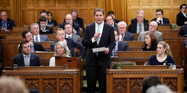 Conservative Leader Andrew Scheer speaks during question period in the House of Commons on Nov. 21, 2017.