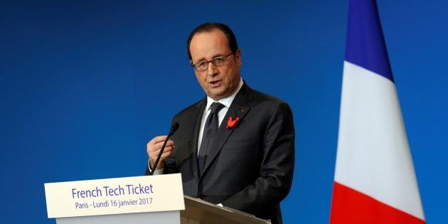 """François Hollande à une conférence sur la """"French Tech"""" le 17 janvier."""