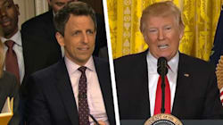 Seth Meyers' Fake Donald Trump Press Conference Gets Surprisingly