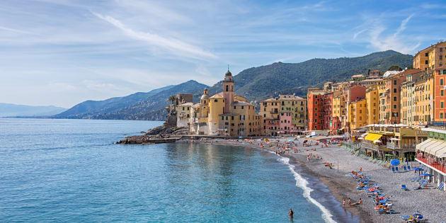 CAMOGLI, ITALY, MAY 23, 2017 - View of city of Camogli , Genoa Province, Liguria, Mediterranean coast, Italy