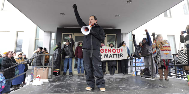 Chief Cadmus Delorme of Cowessess First Nation speaks during a rally in Regina following the not guilty verdict in the Gerald Stanley trial on Saturday.