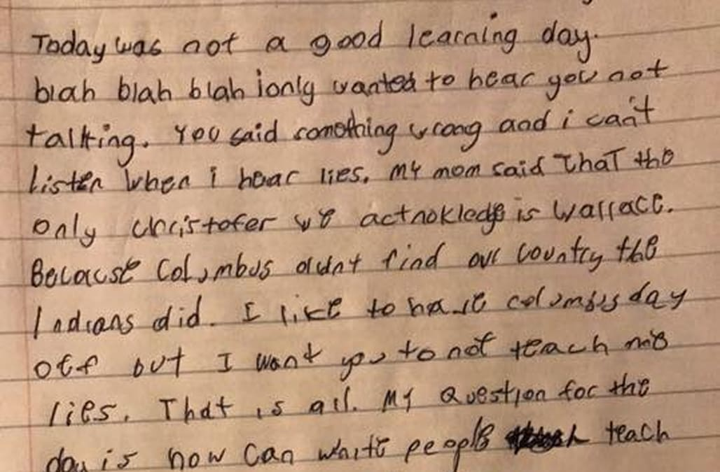 This kids letter to his teacher for lying about Christopher