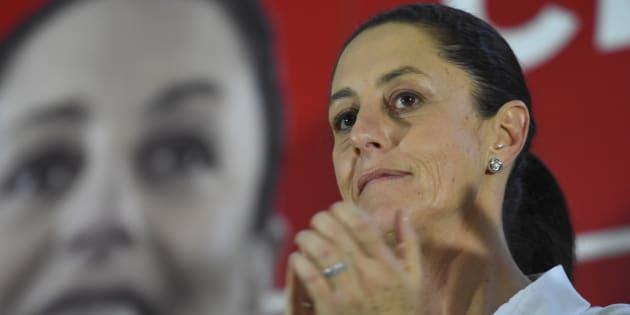 Claudia Sheinbaum, exdelegada de Tlalpan y candidata a la jefatura de gobierno, en un mitin en la Ciudad de México.