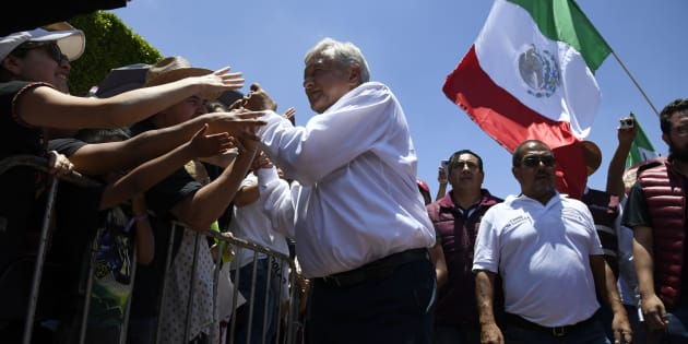 Mexico's presidential candidate for the MORENA party, Andres Manuel Lopez Obrador (C), greets supporters during a campaign rally in Queretaro, state of Queretaro, Mexico on June 24, 2018 ahead of the upcoming July 1 national election. (Photo by ALFREDO ESTRELLA / AFP)        (Photo credit should read ALFREDO ESTRELLA/AFP/Getty Images)
