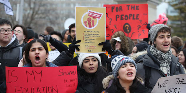 The Canadian Federation of Students held an emergency rally at Queen's Park to protest cuts to OSAP and campus groups that accompanied the planned 10 per cent tuition reduction at Queen's Park in Toronto on Jan. 18, 2019.