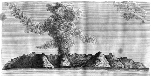 'View of the volcano on Barren Island', Andaman Islands, 1799. The first recorded eruption of the volcano occurred in 1787. A print from Asiatic Researches or Transactions of the Society Instituted in Bengal, for Inquiring into the History and Antiquities, the Arts, Sciences and Literature of Asia, Vol IV, by J Sewell, Vernor and Hood, J Cuthell, J Walker, R Lea, Lackington, Allen and Co, Otridge and Son, R Faulder and J Scatchered, 1799. (Photo by The Print Collector/Print Collector/Getty Images)