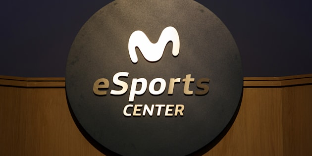 The logo of Movistar ESports Center seen in Madrid, Spain.