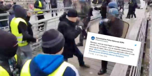 Sur la passerelle Léopold-Sédar-Senghor à Paris, le boxeur a asséné plusieurs coups violents au visage d'un gendarme.