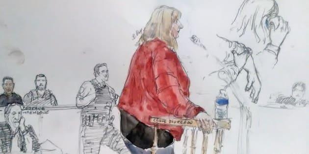 Un dessin réalisé le 10 octobre au procès de l'affaire Fiona, au Puy-en-Velay.