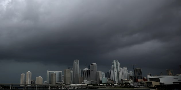 Dark clouds are seen over Miami's skyline prior to the arrival of Hurricane Irma to south Florida on Saturday.