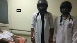 Under Attack From Patients' Families, AIIMS Doctors Wear Helmets To