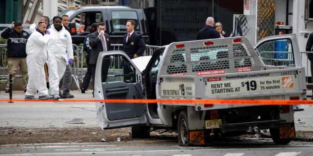 Le pick-up qui a servi à Sayfullo Saipov à commettre  son attentat à New York le 31 octobre 2017.