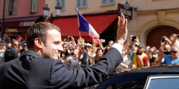Le Président Emmanuel Macron lors de la commémoration de l'attentat de Nice sur la Promenade des Anglais, à Nice le 14 juillet 2017.