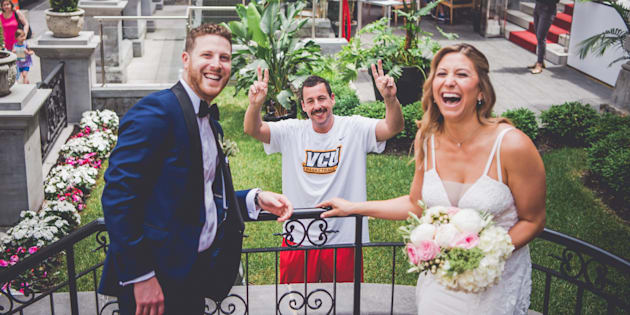 Actor Adam Sandler made a cameo in a Montreal couple's wedding photoshoot on Sunday. Sana Belgot from Mlle Sana Photography.