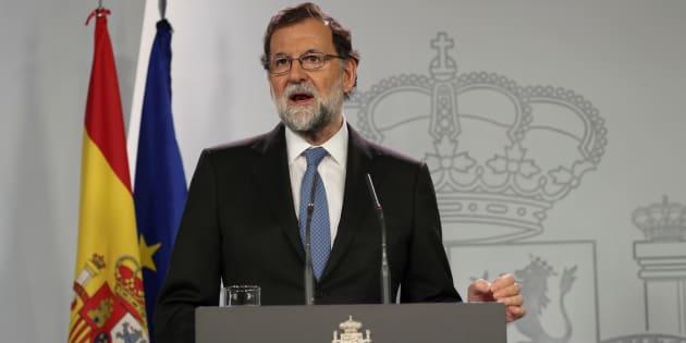 Le Premier ministre espagnol Mariano Rajoy après un Conseil des ministres extraordinaire le 27 octobre à Madrid.
