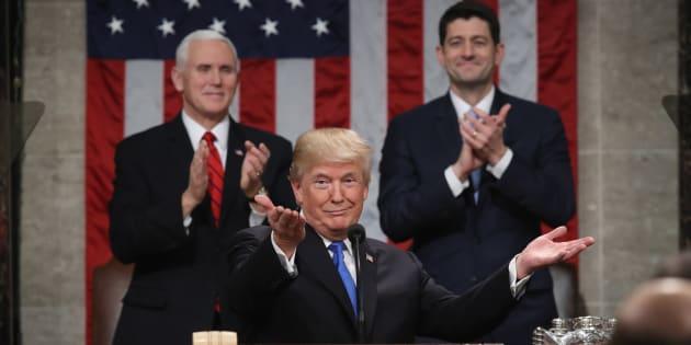 Donald Trump face au Congrès à Washington le 30 janvier 2018.