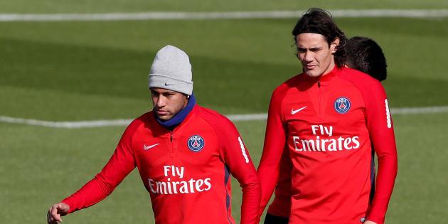 Neymar et Cavani à l'entraînement avec le PSG le 21 septembre 2017.