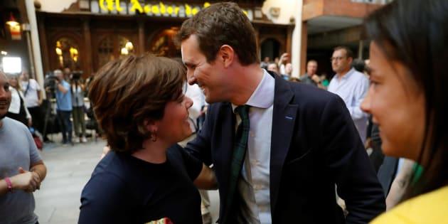 Los candidatos a la Presidencia del PP Pablo Casado y Soraya Sáenz de Santamaría.
