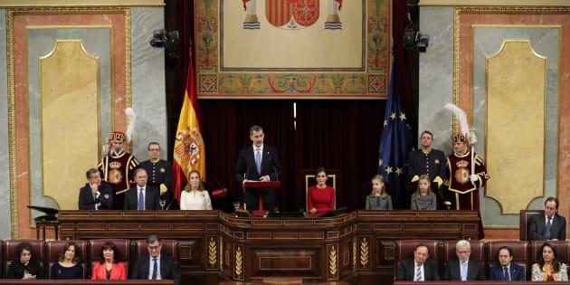 El Rey Felipe VI, durante su discurso hoy en la solemne conmemoración del 40 aniversario de la Constitución.