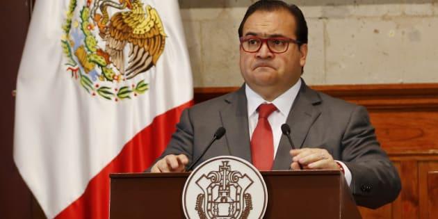 Javier Duarte, exgobernador de Veracruz, en una conferencia de prensa el 10 de agosto de 2015.