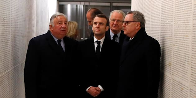 Emmanuel Macron, ici devant le Memorial de la Shoah, s'est engagé à agir contre la recrudescence des actes antisémites.