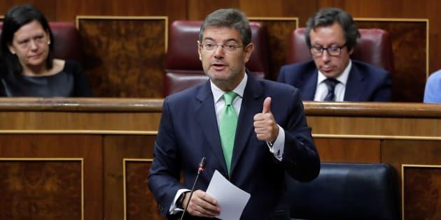 Rafael Catalá en la sesión de control celebrada hoy en el Congreso de los Diputados.