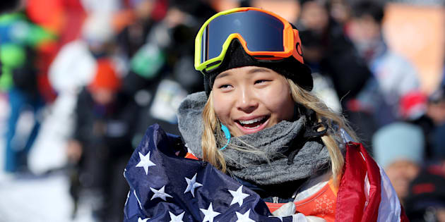 PYEONGCHANG, SOUTH KOREA - FEBRUARY 13:   Gold medalist Chloe Kim #1 of the United States celebrates her gold medal win during the Snowboard - Ladies' Halfpipe competition at Phoenix Snow Park on February 13, 2018 in PyeongChang, South Korea.  (Photo by Tim Clayton/Corbis via Getty Images)