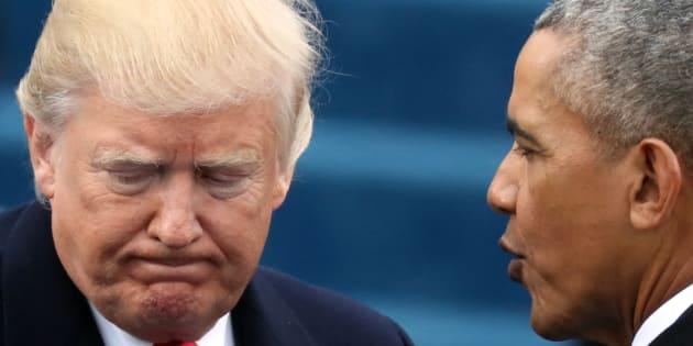 Donald Trump et Barack Obama à Washington le 20 janvier 2017.