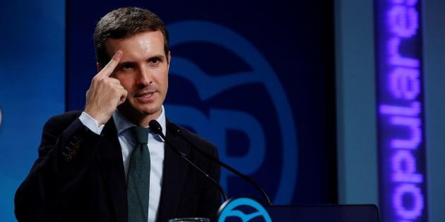 El presidente del PP, Pablo Casado, durante su comparecencia de hoy en la sede del partido en Madrid.