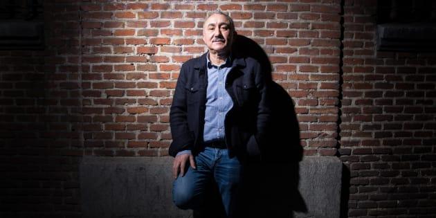 Pepe Álvarez, secretario general de la UGT, en la pared de la sede del sindicato en la calle Hortaleza de Madrid.