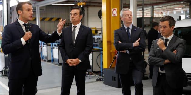 Le PDG de Renault Carlos Ghosn en compagnie du président de la République Emmanuel Macron, du ministre de l'Economie Bruno Le Maire et du ministre des Comptes publics Gérald Darmanin.