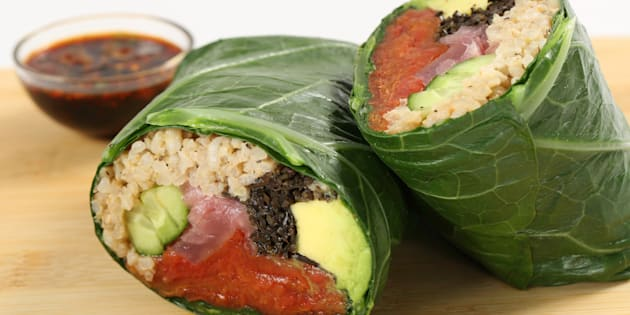 Fresh & Co's Tomato Sushi Wrap with hijiki, cucumber, avocado, rice, cilantro and wasabi
