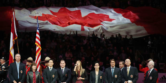 The 2017 Hall of Fame class during the national anthem during the Hockey Hall of Fame Legends Classic at the Air Canada Centre in Toronto on Nov. 12, 2017.